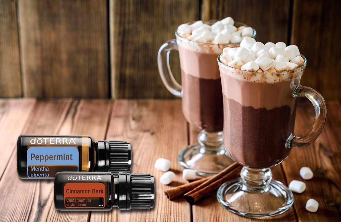 Merienda invernal DōTERRA® Chocolate caliente con muffins de chocolate y bergamota